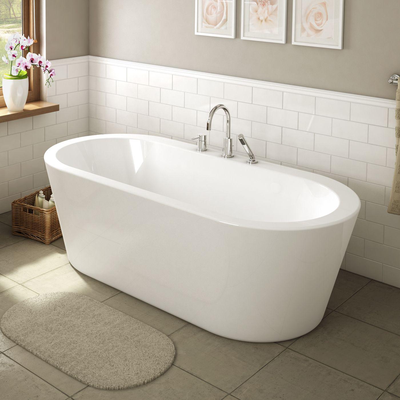 A Amp E Bath And Shower Una 71 In Glossy White Freestanding
