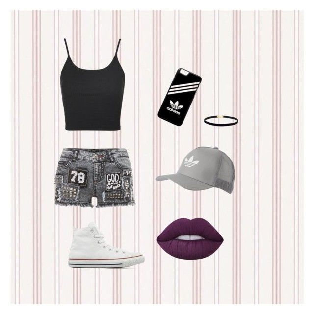 """collection for day"" by onegirl727 ❤ liked on Polyvore featuring Topshop, Converse, adidas, adidas Originals and Lime Crime"