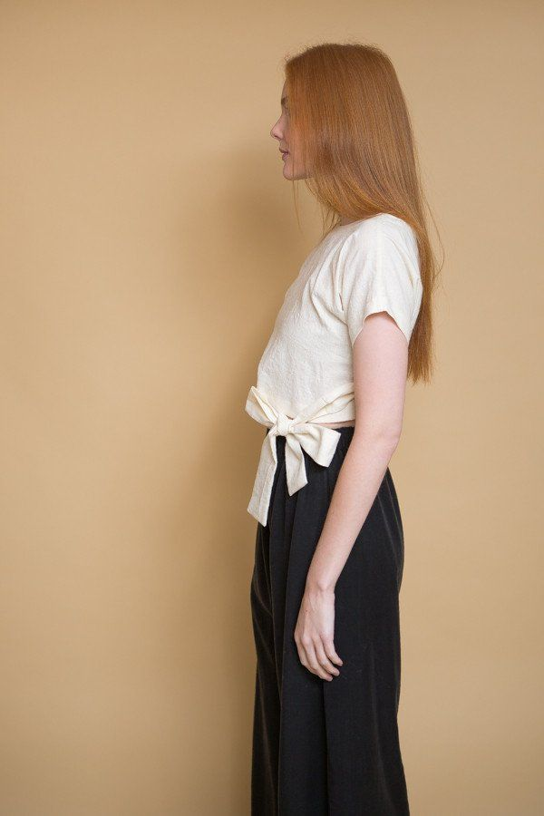 d8f16fbc09bd83 Wraparound Top by Lauren Winter. Cropped kimono top with attached sash that  wraps around to