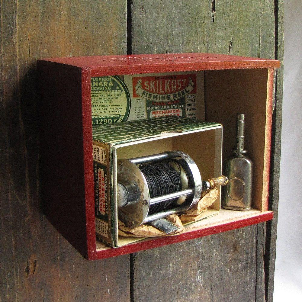 Vintage Fishing Reel Set Shadowbox | In my home | Pinterest