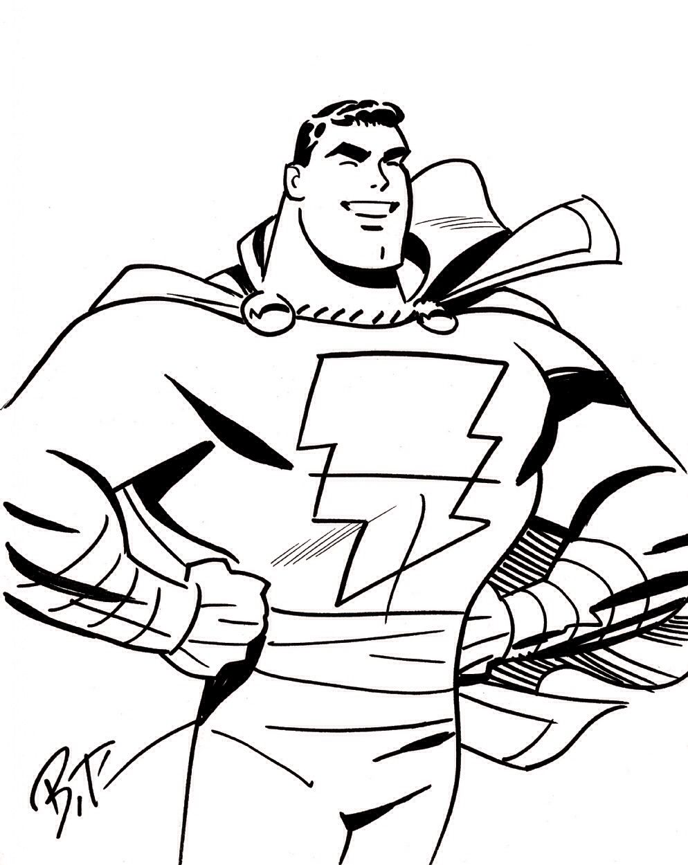Captain Marvel (Shazam) Sketch by Bruce Timm | Shazam /Captain ...