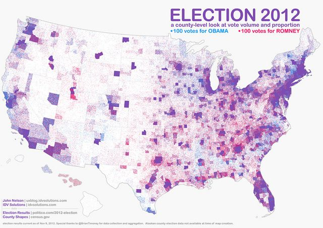 Urban vs. rural blue vs. red Election 2012 map   Intriguing ...