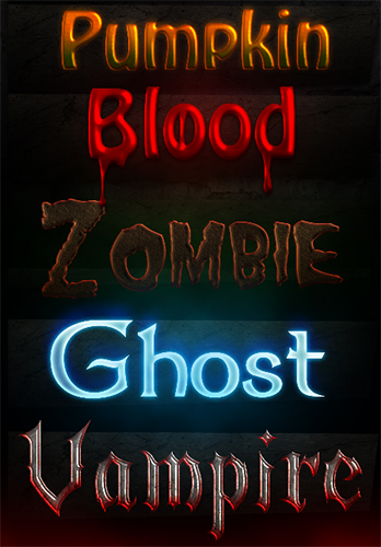 This free set of Halloween layer styles features nightmare, pumpkin, blood, zombie, ghost and vampire versions to help you transform your text.