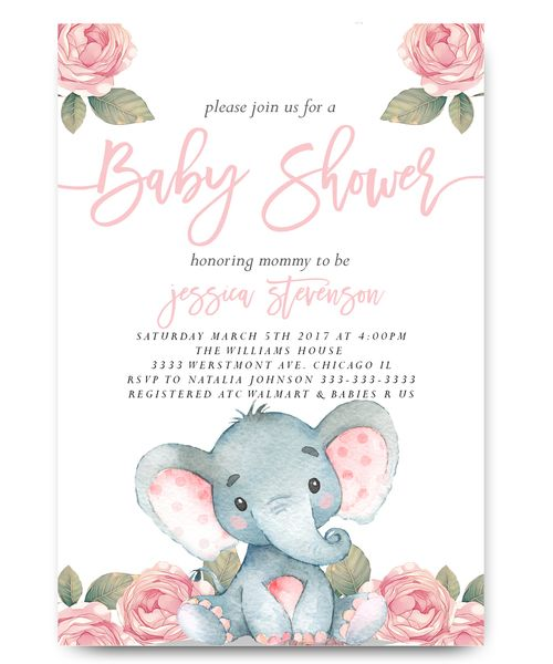 Elephant Baby Shower Invitation Pink Fl