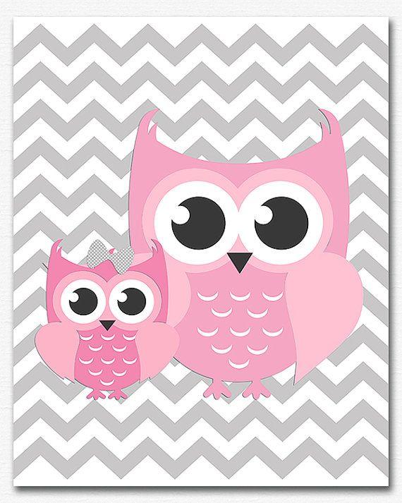 Pink and grey owl chevron wall art nursery Art by ...
