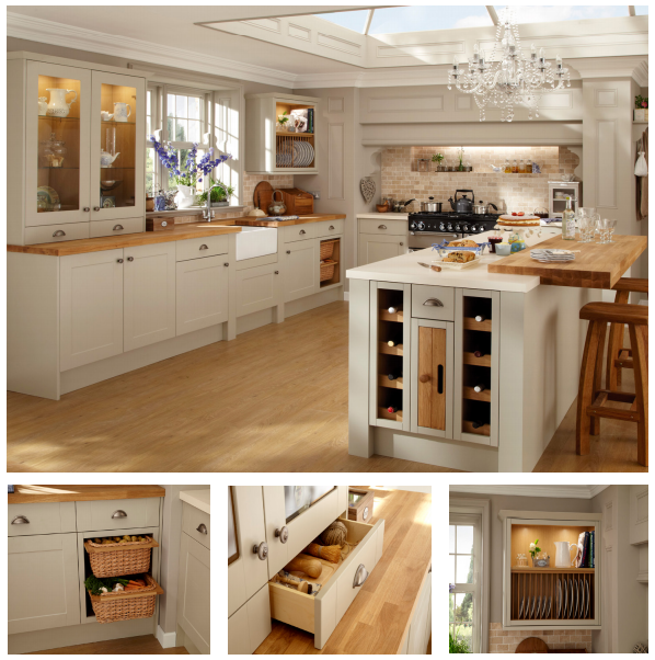 Cream Kitchen Black Worktops: Glass Roof / Wine Rack / Wooden