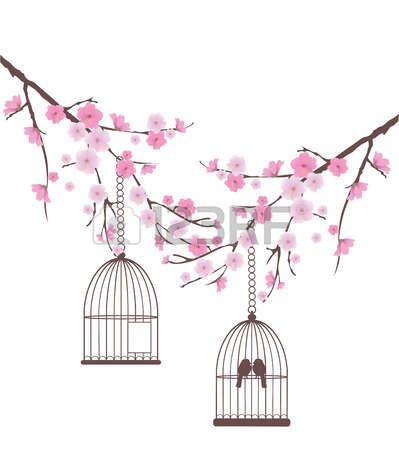 Branches cerisiers en fleurs avec des oiseaux art fleur de cerisier fleur de cerisier - Dessin arbre japonais ...