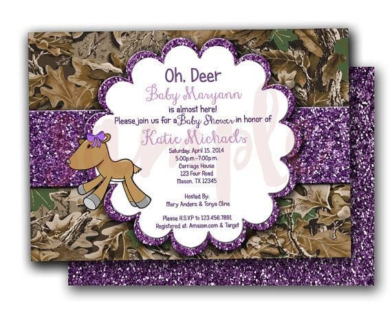 Purple Camo Oh Deer Baby Shower Invitations   Camouflage Baby Shower  Invitation   Glitter Doe Baby Shower Invites   Pink Camo Baby Shower