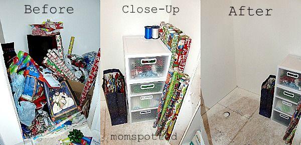 My Gift Wrap Storage Station Organized!
