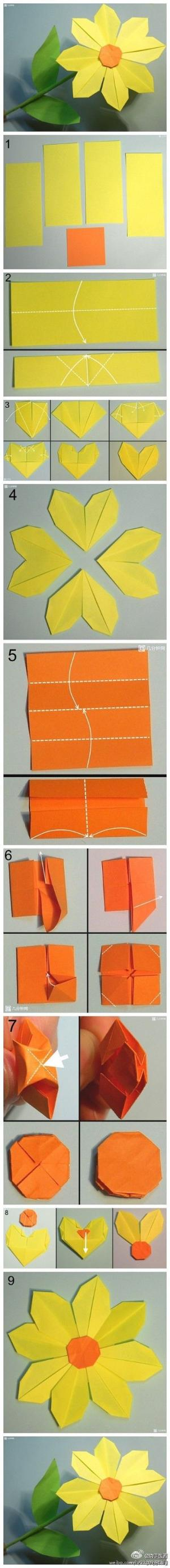 How To Make Pretty Paper Craft Origami Yellow Flower Step By Step By