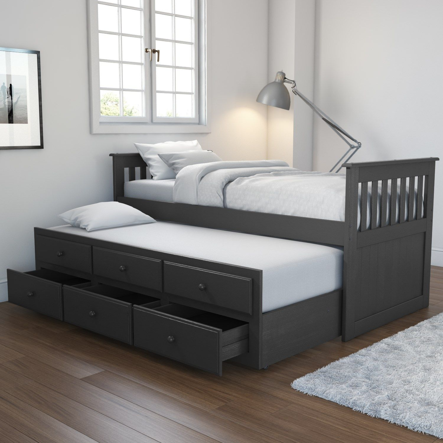 Oxford Captains Guest Bed With Storage In Dark Grey Trundle Bed