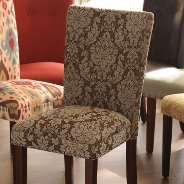 Uniquely Upholstered In An Elegant Brown Damask Fabric This Comfortable Parsons Chair Is The Perfect For Guests Your Dining Room Kirklands