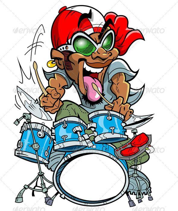 Wild Drummer Characters Vectors Mentahan Logo