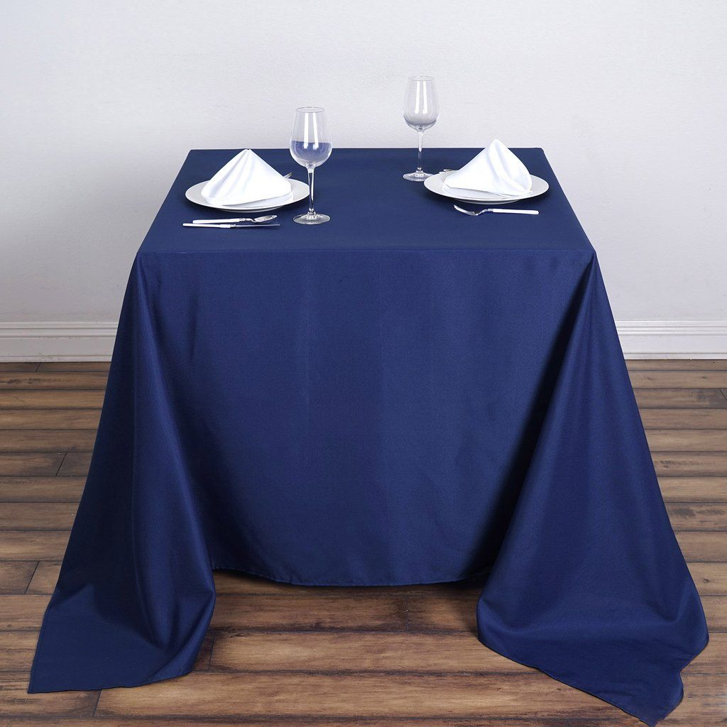 90 Navy Blue Premium Square Polyester Tablecloth With Images