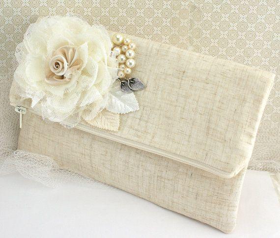 Clutch Ivory Cream Silver Linen Handbag Purse Elegant Wedding Shabby Chic Vintage Style Bridal Maid Of Honor Lace Pearls