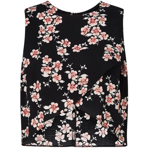 Miss Selfridge Blosson Wrap Shell Top, Multi (€32) ❤ liked on Polyvore featuring tops, floral sleeveless top, wrap front top, crop top, flower print top and floral print top