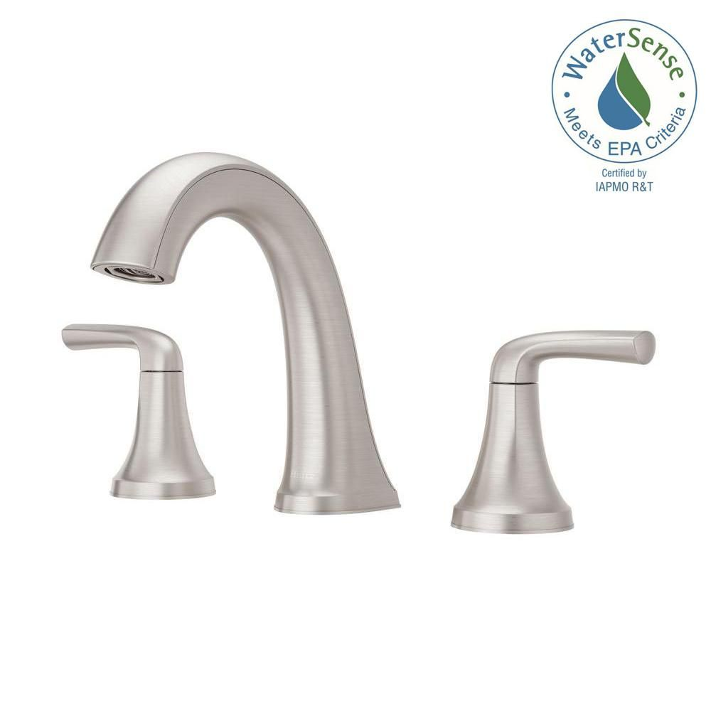 Widespread 2 Handle Bathroom Faucet In Spot Defense Brushed Nickel Lf 049 Lrgs The Home Depot