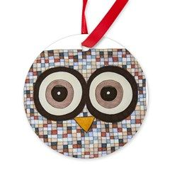 Tweed Owl Round Ornament