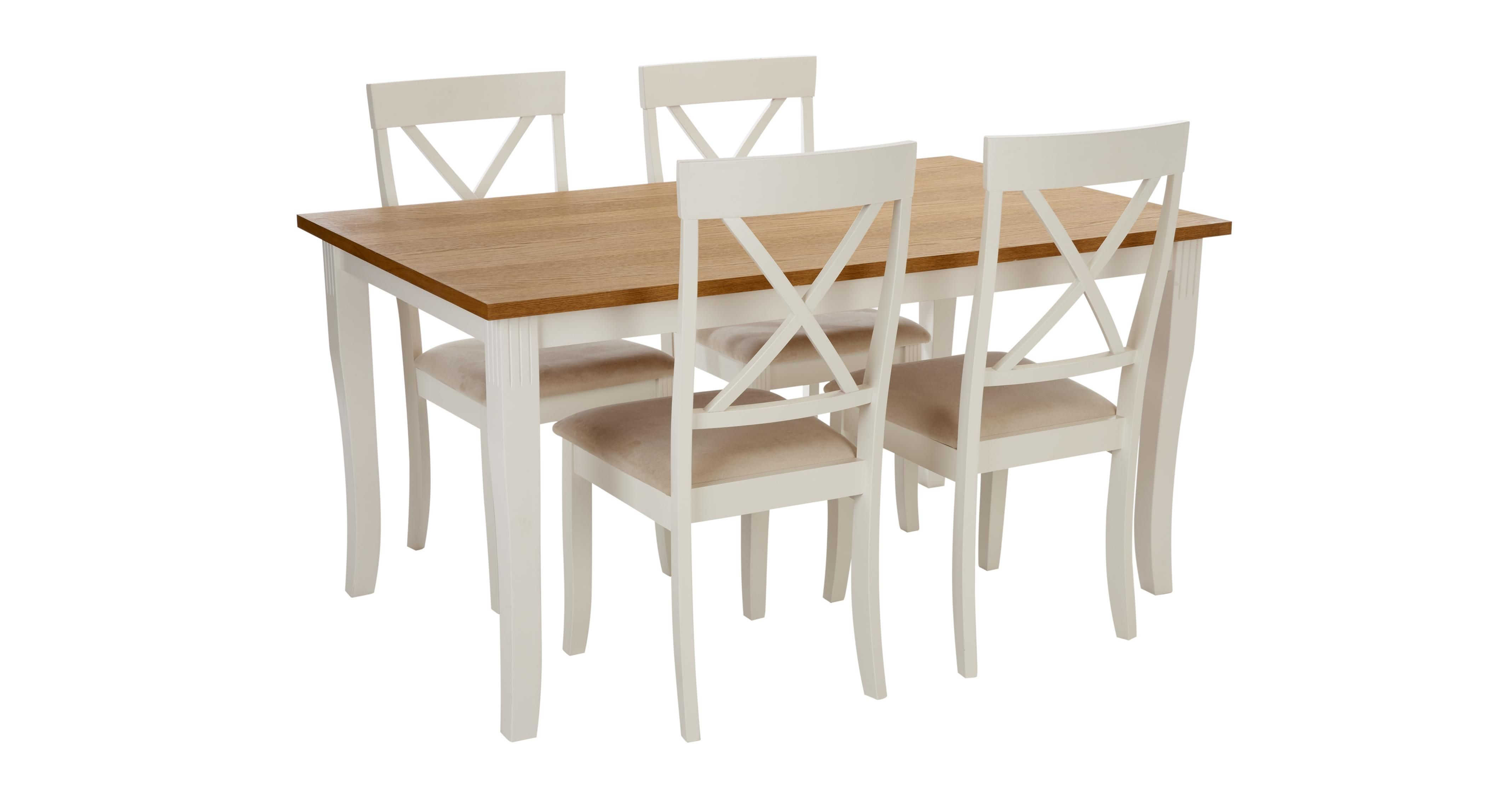 Duplex Rectangular Extending Table And Set Of 4 Chairs Dfs
