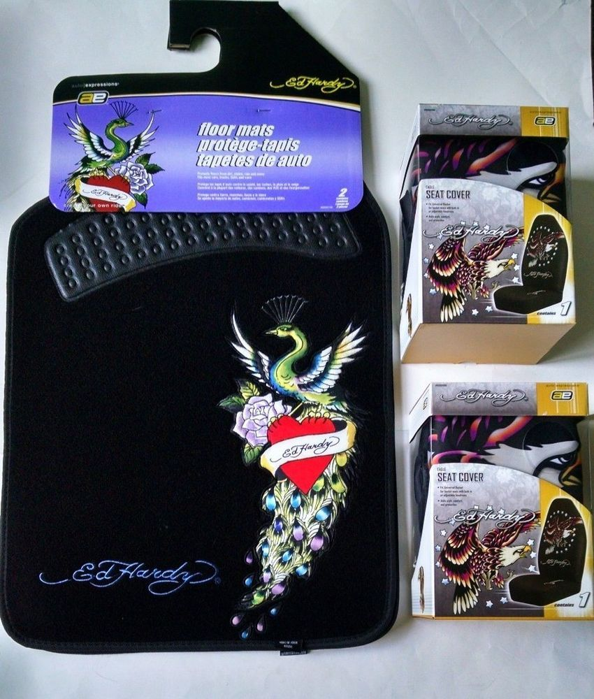 New Set Ed Hardy Eagle Car Truck Seat Covers Heart Floor Mats Lot Of 4 Items AutoExpressions