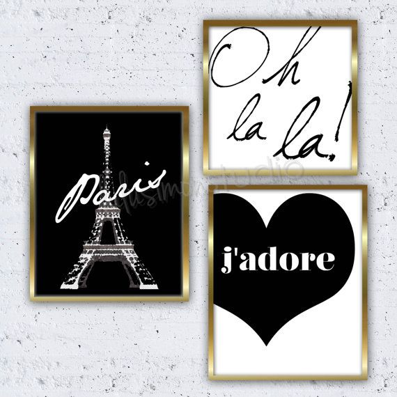 Set Of 3 Paris Prints Paris Decor Wall Decor By LulusimonSTUDIO, $40.00  Look Great In