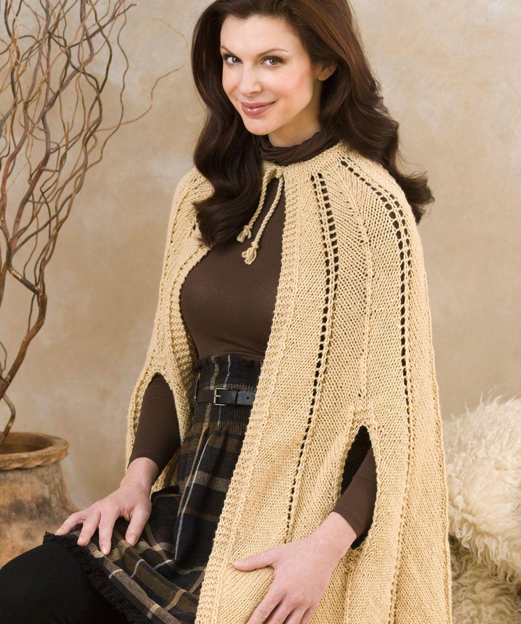Redheart Yarn   Free Pattern    Chevron Cape    #knitting #cape ...