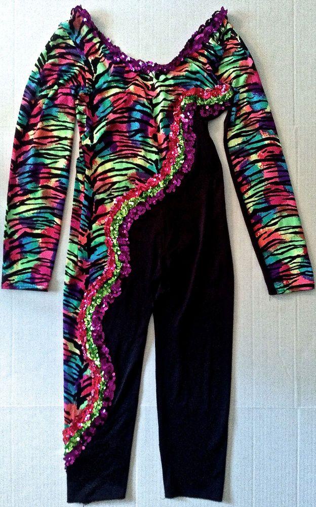 Taffys Sequin Dance Costume Leotard Unitard Gymnastics Mid-Calf Womens Teen Sz L #TaffysShowstoppers #UnitardBodysuit