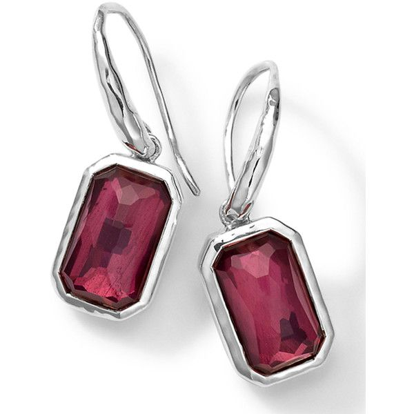 Ippolita Rectangle Quartz & Lipstick Pyrite Earrings (390 CAD) ❤ liked on Polyvore featuring jewelry, earrings, silver, emerald cut diamond earrings, drop earrings, diamond earrings, quartz earrings and pyrite earrings