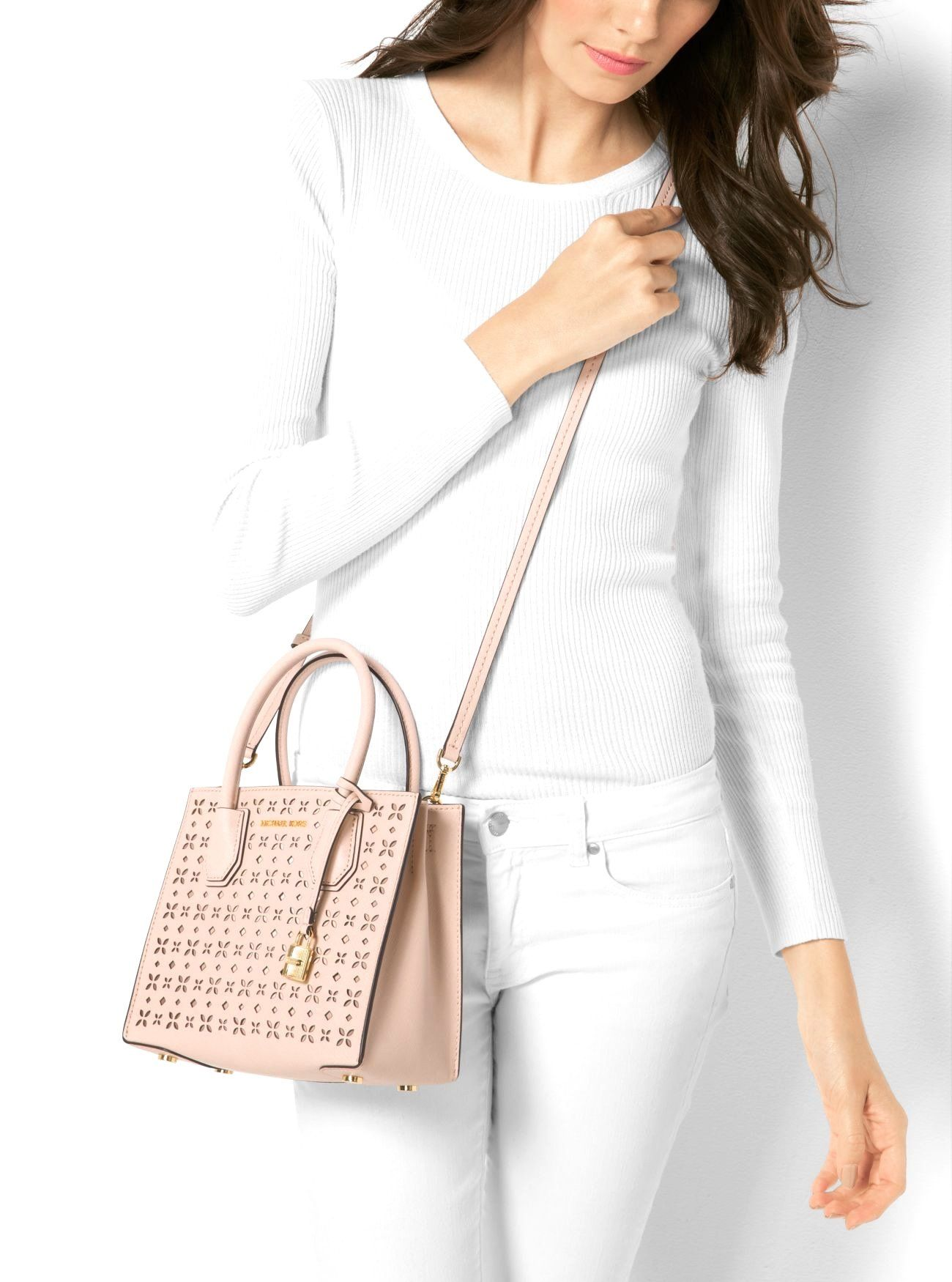 efff193a20d7 MICHAEL Michael Kors Mercer Perforated Leather Crossbody Bag Soft Pink >>>  Continue to the product at the image link. (This is an affiliate link)  #handbags