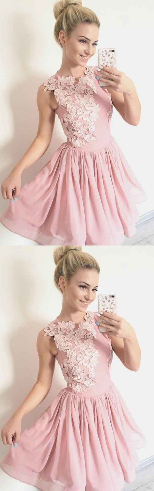 Applique homecoming dresses pink short prom dressesmg in