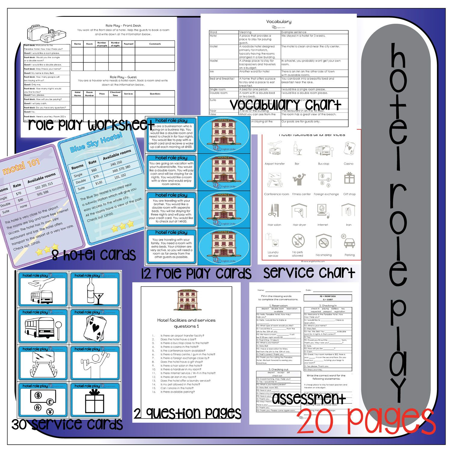 Hotel Role Play Pack English Unite Roleplay Role Hotel Card