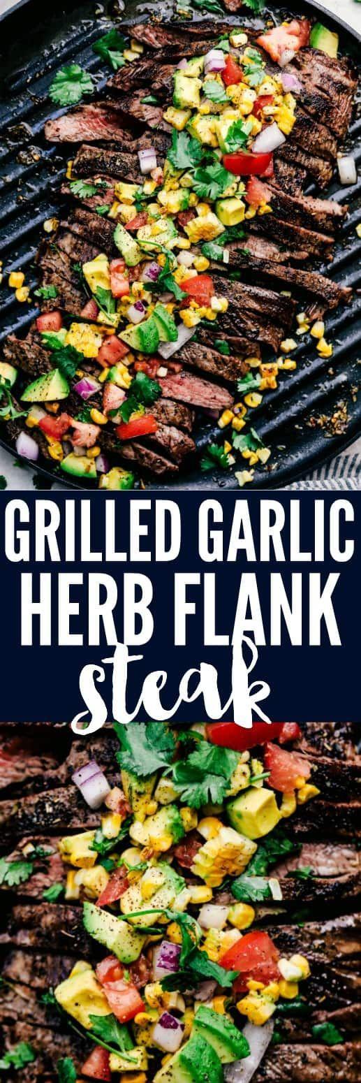 Grilled Garlic Herb Flank Steak with Avocado Corn Salsa #grilledsteakmarinades