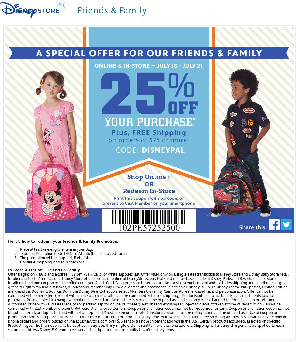 disney store promo code 25 off