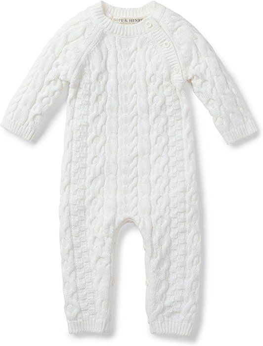 03bd72f091f Amazon.com  Hope   Henry Layette White Cable Knit Sweater Romper Made with Organic  Cotton  Clothing