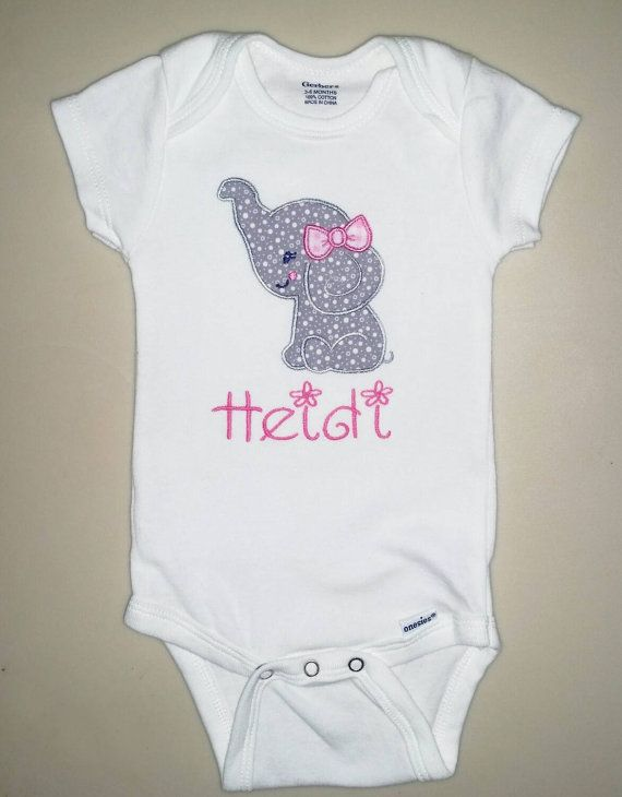 f97df0470 Personalized Baby girl elephant onesie, embroidered, grey and pink, elephant  with bow, safari girl, baby shower gift