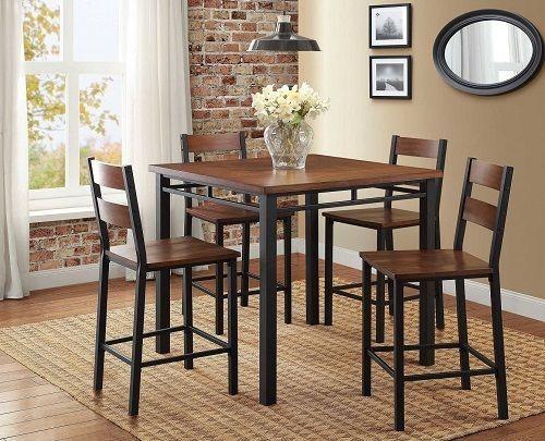 Counter Dining Set Pub Table Set Bar Kitchen Breakfast Furniture 5 Piece Table  #CounterDiningSet