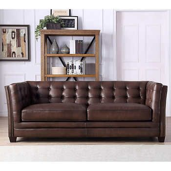 Belmond Top Grain Leather Sofa Mahogany Brown100% Leather SofaBrass  Nail Head TrimSolid Wood Legs In Espresso Brown Finish