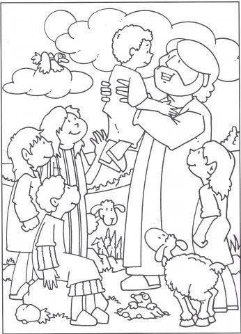 Bijbelse Kleurplaat Laat De Kindren Tot Mij Komen