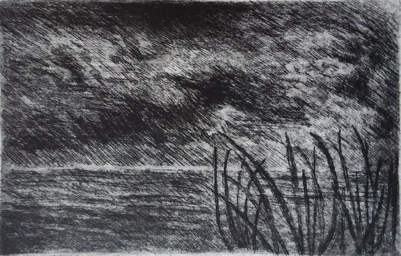 "Roberto Bassani  ""Notturno Marino"" Galv-etch, drypoint"