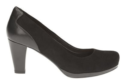 Clarks Chorus Chic, Black Suede, Womens Smart Shoes