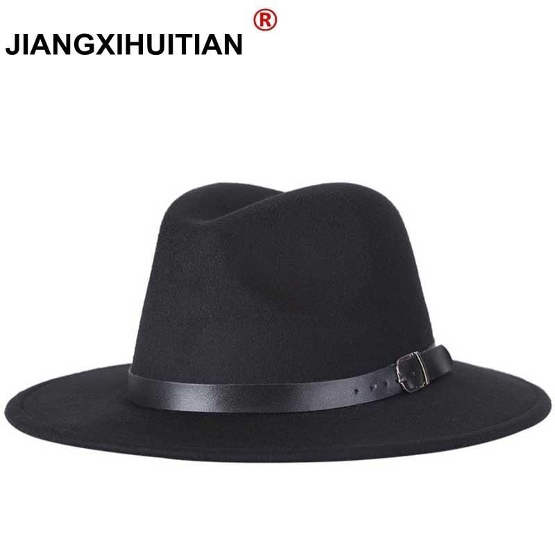 3899de86da48a Fashion men fedoras women s fashion jazz hat summer spring black woolen  blend cap outdoor casual hat