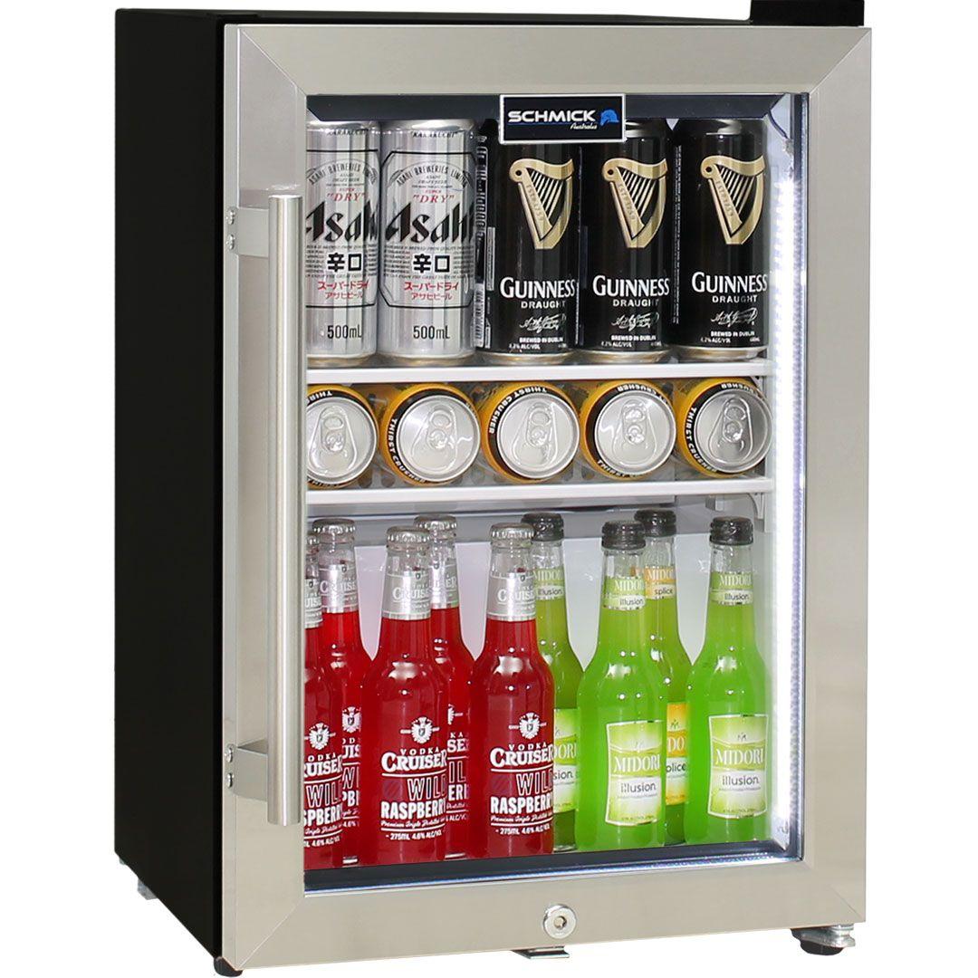 Shallow Depth Mini Bar Fridge Schmick Brand With Triple Glazing Lock And Led Strip Lights Bar Fridges Mini Bar Led Strip Lighting
