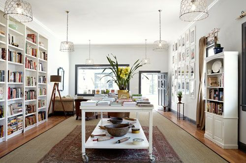 I wish I had a dining area that had endless cookbooks and all-things-food books like Heirloom Book Company. Beautiful!
