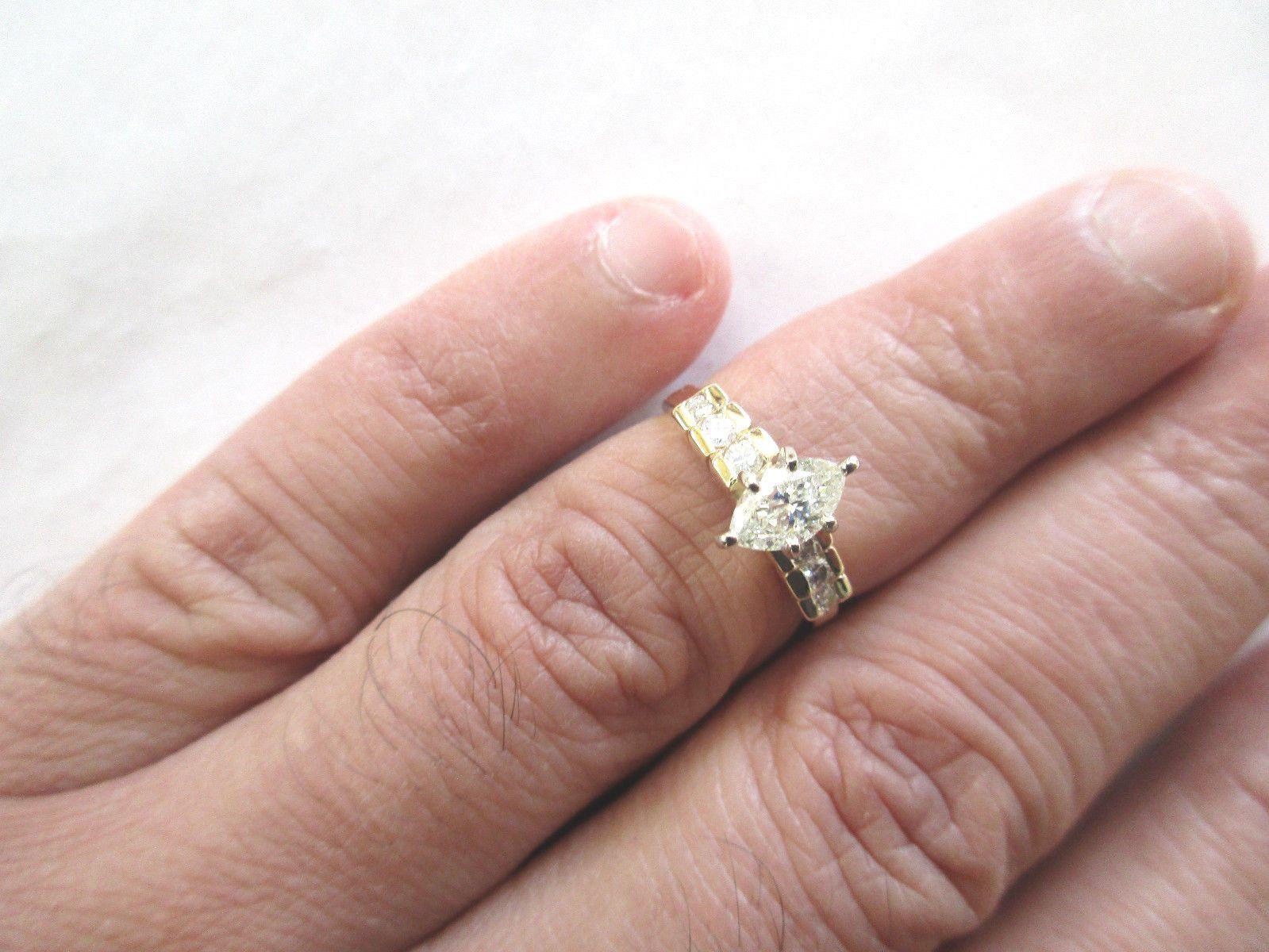 1.09 Carat 14K Gold Diamond Engagement Ring Center=3/4 Carat H-SI2 ...