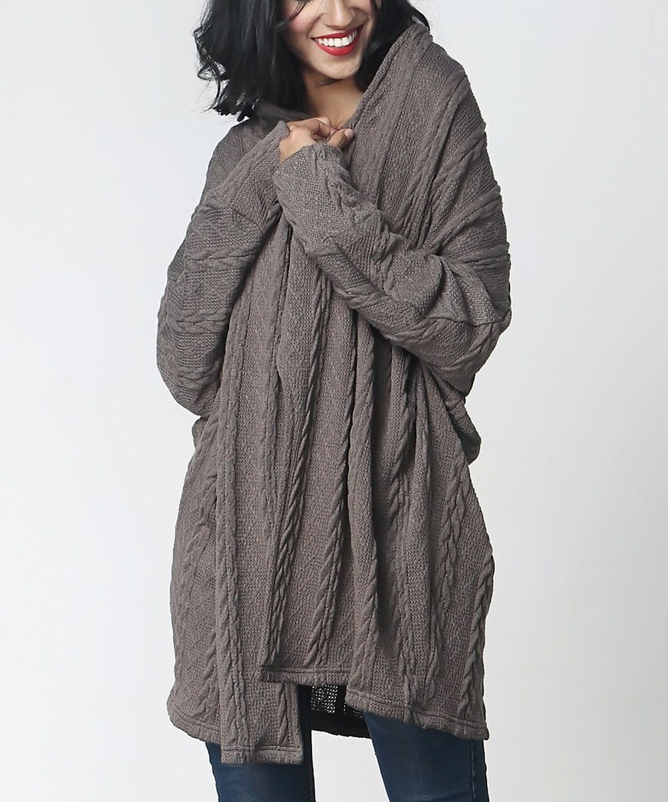 12994049422 Charcoal Cable-Knit Open-Drape Cardigan by Reborn Collection  zulilyfinds
