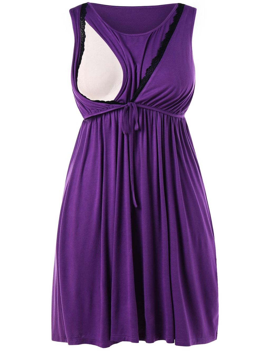 Sleeveless Plus Size Drawstring Waist Nursing Dress - VIOLET 4X ...