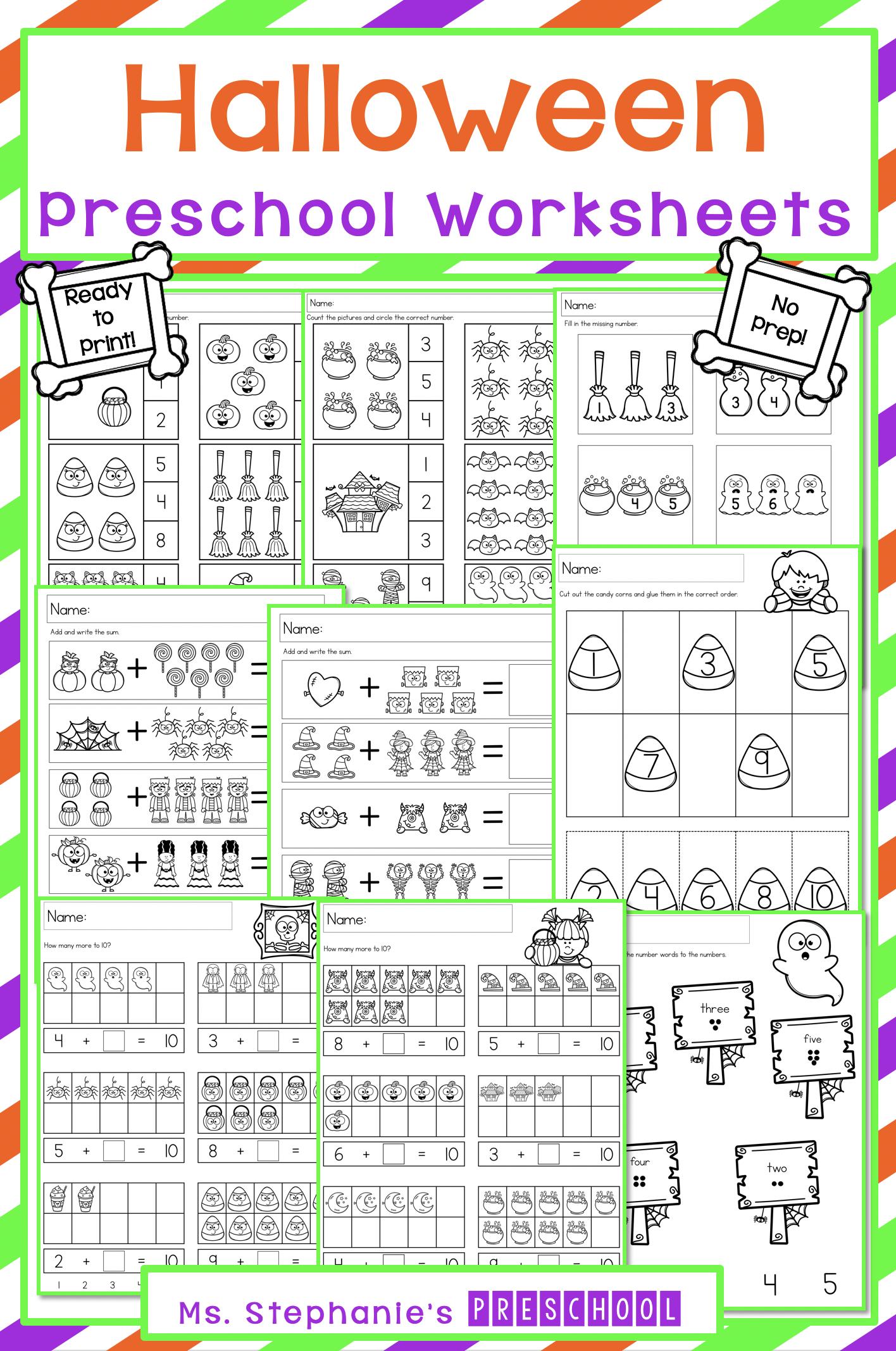 Halloween Preschool Worksheets In