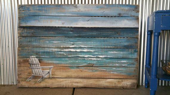 Palette bois plage mur Art plage main peint par TheWhiteBirchStudio - peindre un mur en bois