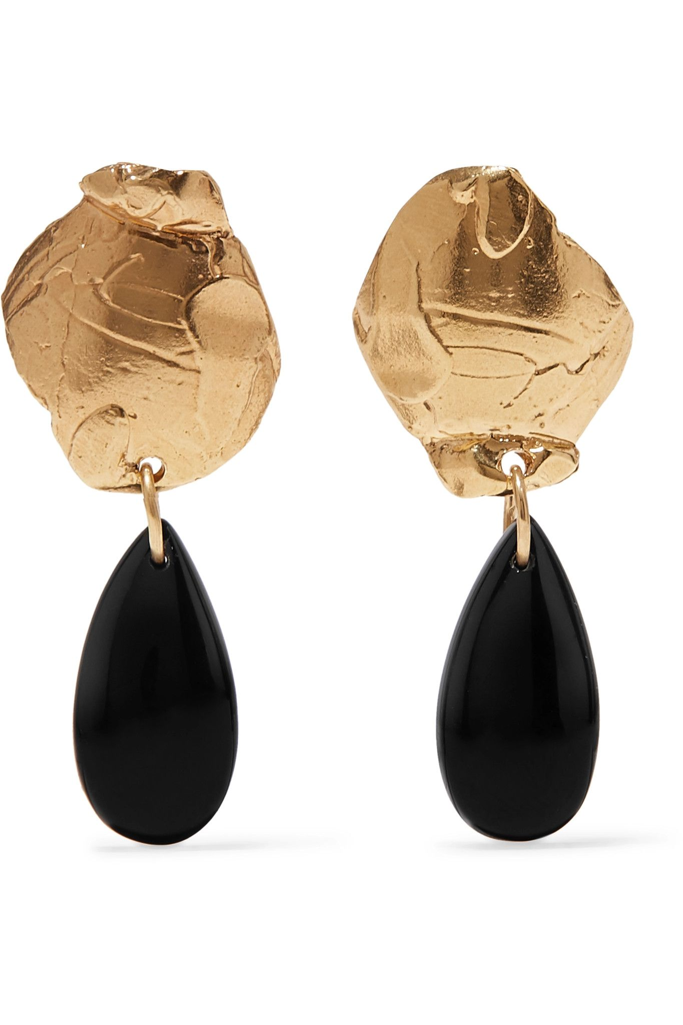 14karat gold and enamel onyx earrings is part of Onyx earrings, Jewelry trends, Fashion jewelry earrings, Earrings, Jewelry, Jewellery and watches -
