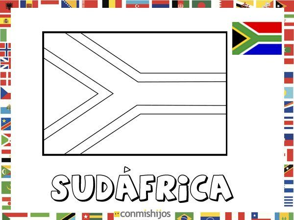 Bandera de Sudáfrica. Dibujos de banderas para pintar | Sudáfrica ...